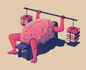 A brain doing benchpresses with books as weights