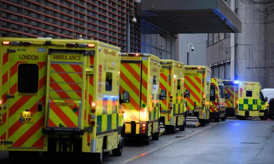 A row of ambulances outside the Royal London hospital.