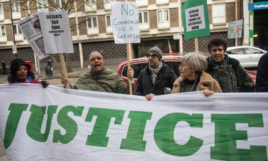 Survivors of the Grenfell Tower fire and their supporters demonstrate outside the inquiry hearing in January.