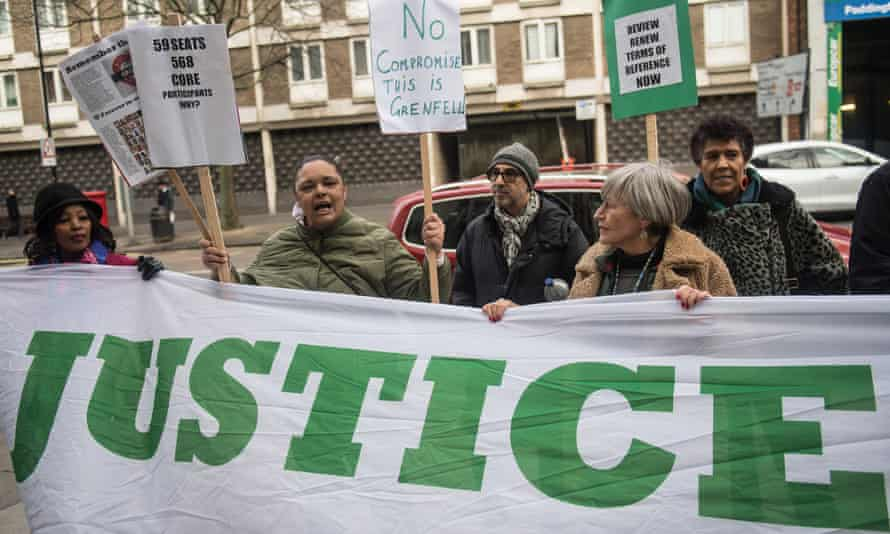 Protesters demonstrate outside the Grenfell inquiry  in Paddington, west London