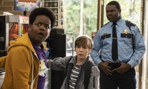from left, Lucas (Keith L Williams), Max (Jacob Tremblay) and Sam Richardson (Officer Sacks) in Good Boys.