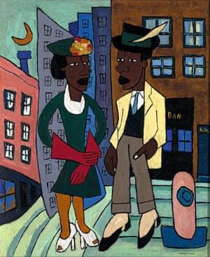 William H Johnson's Street Life, Harlem, 1939.