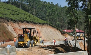 Road construction in the mountains in Kerala, India