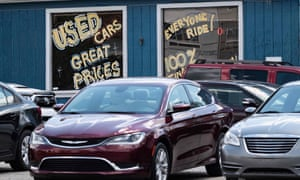 A used car dealership is seen in Laurel, Maryland.