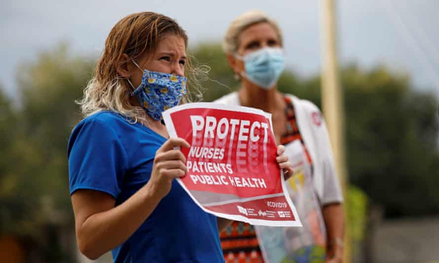 Nurses protest in St Petersburg, Florida. Florida has had 191 coronavirus deaths in the last 24 hours, the highest single-day rise since the start of the epidemic, the state health department said.