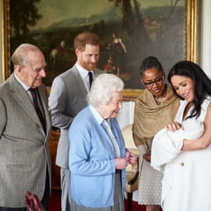 Prince Harry, Duke of Sussex and Meghan, Duchess of Sussex are joined by her mother, Doria Ragland, as they show their new son, Archie Harrison Mountbatten-Windsor, to Queen Elizabeth II and Prince Philip at Windsor Castle.
