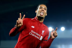 Van Dijk celebrates after scoring his second goal and fifth for Liverpool.