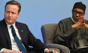 Former British prime minister David Cameron and Nigerian president Muhammadu Buhari