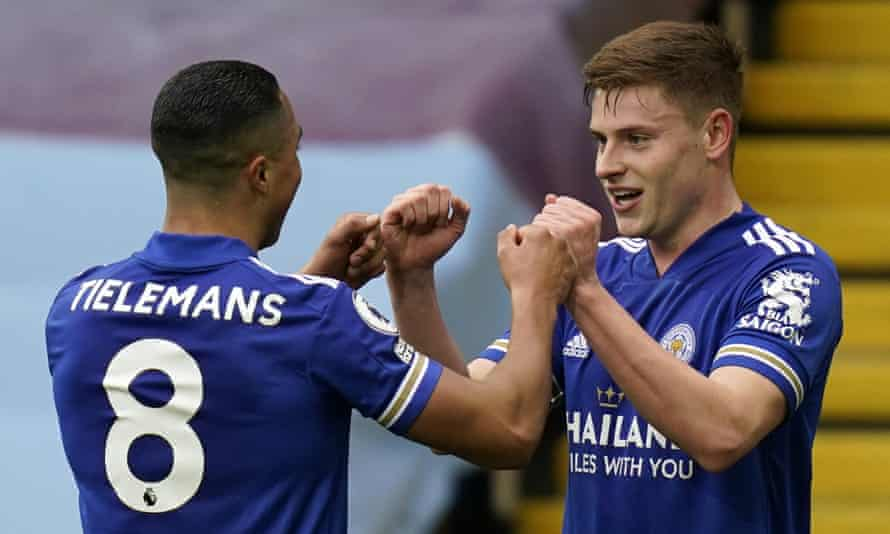 Harvey Barnes (right) celebrates with his Leicester teammate Youri Tielemans after scoring in the Premier League win against Aston Villa.