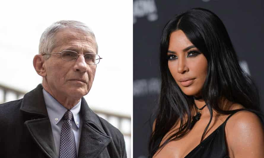 Taking the virus to task ... Dr Anthony Fauci and Kim Kardashian West.