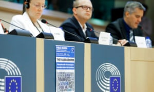 Participants attend the first hearing of the European parliament's Panama Papers inquiry on Tuesday