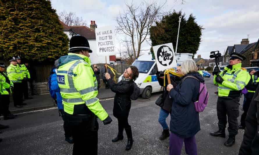 Sheffield residents protest against the felling of trees in the city.