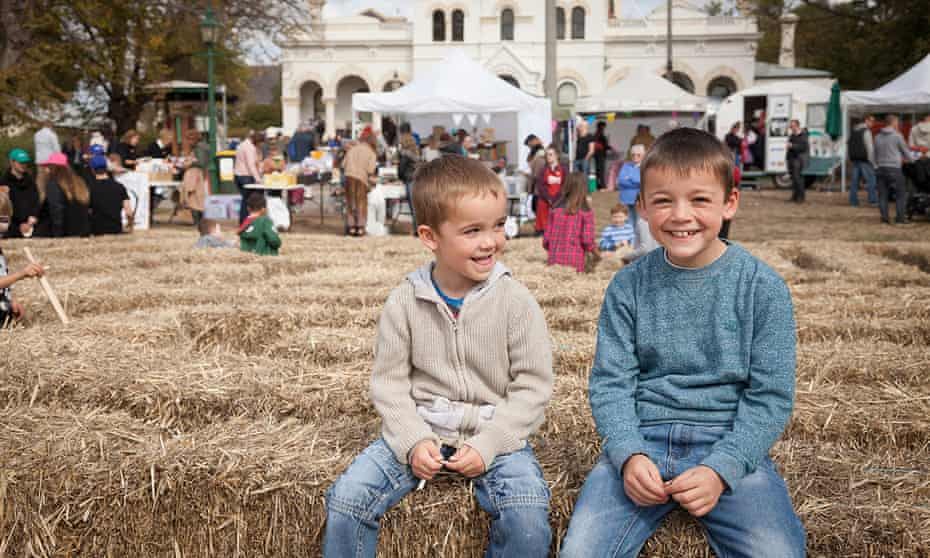 Two boys enjoying festivities at the 2017 Clunes Booktown festival.