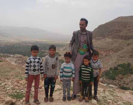 Ali Al Makhaathi with his children and nephews