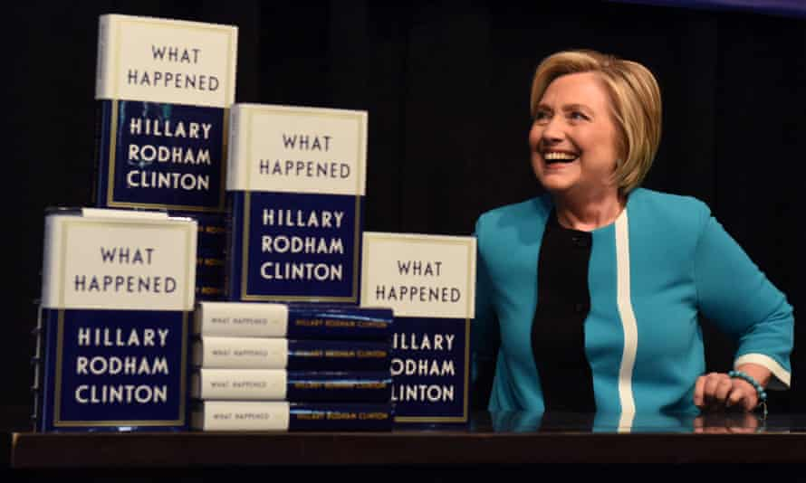 Hillary Clinton with her book What Happened, published by Simon & Schuster