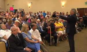 Representative Dennis Ross of Florida speaks at a town hall Tuesday.
