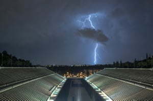 A lightning storm over the Panathenaic Stadium in Athens, last month.