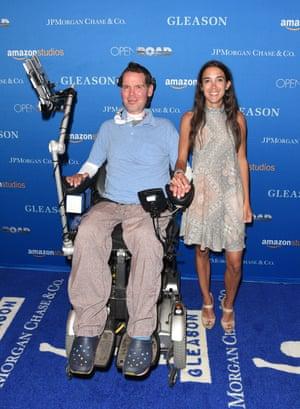 Steve Gleason和妻子Michel参加旧金山的放映。
