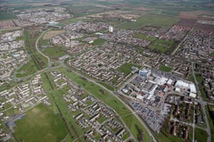 An aerial view of the Bransholme Estate and North Point shopping centre.