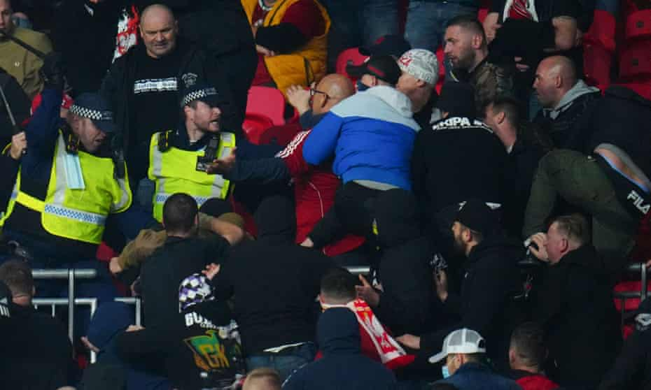 Hungary fans clash with police at Wembley.