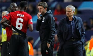 José Mourinho and Paul Pogba during Manchester United's Champions League game against Valencia on Tuesday night.