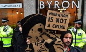 Protesters outside London Byron burger
