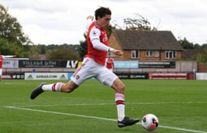 Hector Bellerín in action for the Arsenal Under-23s against Liverpool at Meadow Park in Borehamwood.