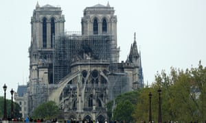 Notre Dame cathedral following the fire that toppled its spire.