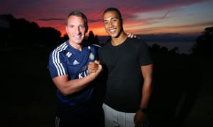 New Leicester City signing Youri Tielemans pictured with manager Brendan Rodgers, joining up with his teammates during pre-season in Evian-les-Bains.