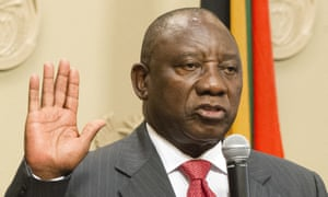 Cyril Ramaphosa being sworn in as South African president.