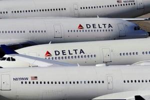 Delta Air Lines passenger planes at Shuttlesworth International Airport in Birmingham, Alabama, U.S.