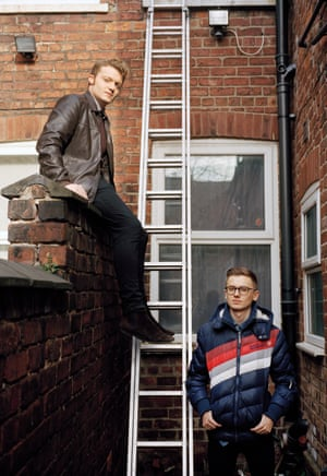 George Flesher and Cameron Broome, students outside their house in Fallowfield, Manchester