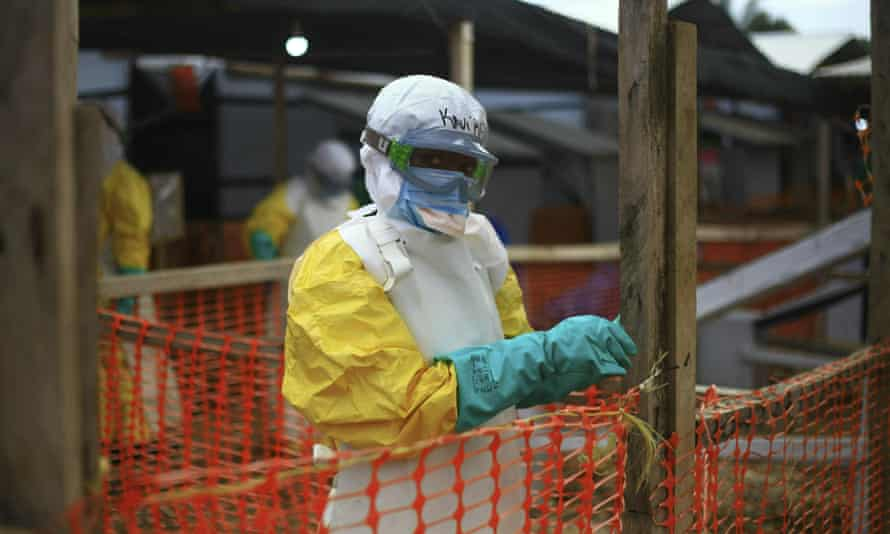 An Ebola health worker at a treatment centre in Beni, the Democratic Republic of the Congo, where the outbreak has claimed more than 2,000 lives