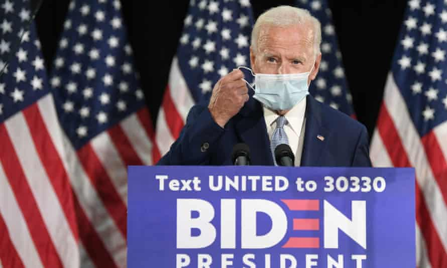 Democratic presidential candidate Joe Biden at an event in Dover, Delaware, 5 June 2020