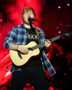 Ed Sheeran plays a Martin guitar.