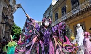 Artists take part in 2016's Old Havana: City in Movement Festival, in Havana, capital of Cuba.