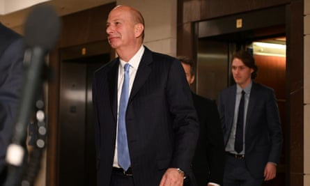 Gordon Sondland arrives to testify at a closed-door deposition on Capitol Hill in Washington DC on 28 October 2019.