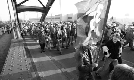 Workers from the Krupp steel mill in Rheinhausen, 1988.