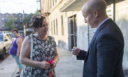 Max Rose canvasses in the Brooklyn borough of New York. Rose is running as a moderate in a district that voted for Donald Trump in 2016 and Barack Obama in 2012.