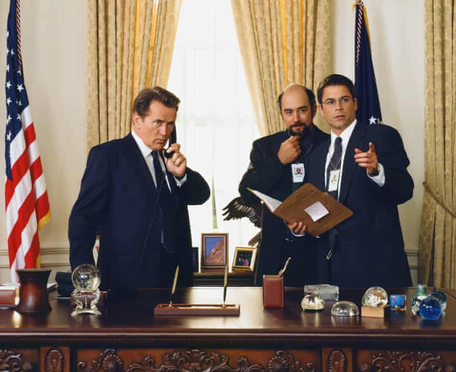 Martin Sheen, Richard Schiff and Rob Lowe  in season one of The West Wing.