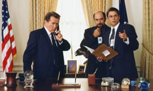 Martin Sheen as President Josiah 'Jed' Bartlet, Richard Schiff as Toby Ziegler and Rob Lowe as Sam Seaborn in The West Wing.