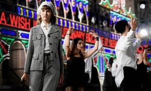 A model presents a creation for Dior in Lecce.