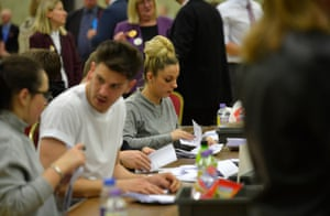 Count staff tackle ballot papers at the Sports Village in Basildon, Essex.