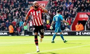 Nathan Redmond celebrates scoring Southampton's second goal against Wolves.