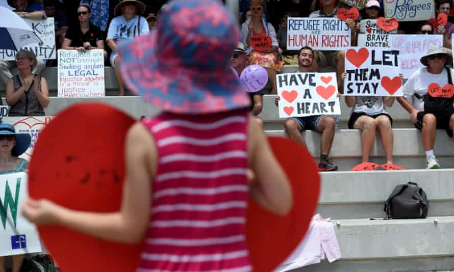 Refugee activists protest outside the Lady Cilento hospital