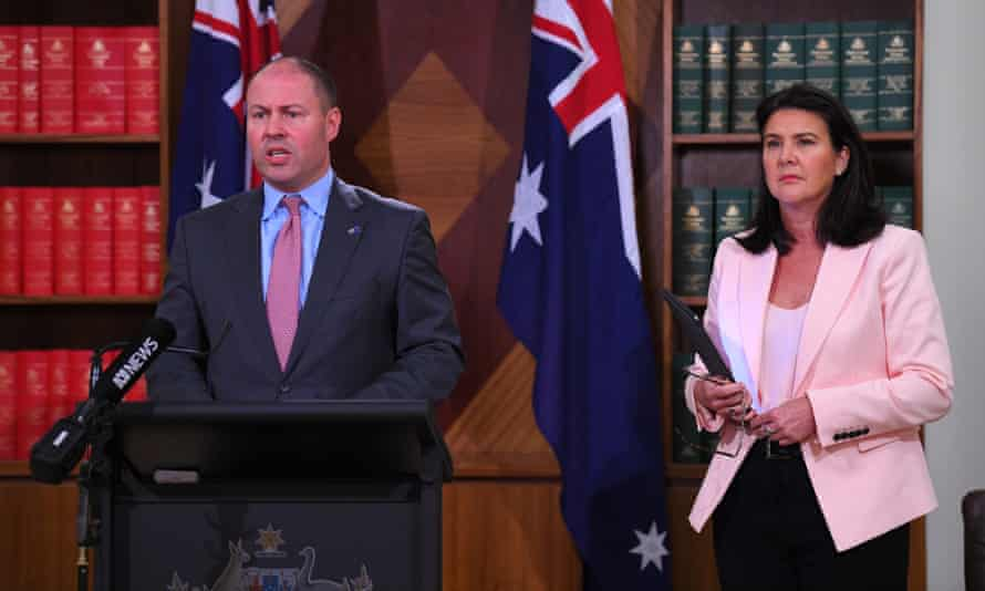 Australian treasurer Josh Frydenberg and assistant minister for superannuation Jane Hume at a press conference after the release of the independent review