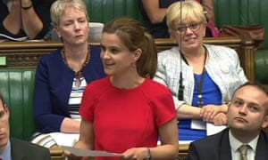 Jo Cox delivering her maiden speech to the House of Commons in June 2015