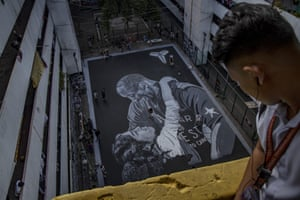 A giant mural on a basketball court in in Taguig, Manila. Bryant is hugely popular in the basketball-obsessed Philippines.