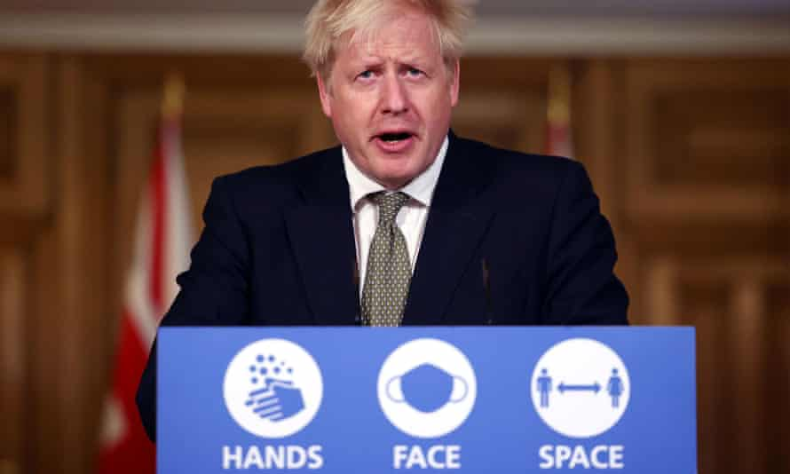 Boris Johnson gives a Covid briefing in October 2020.
