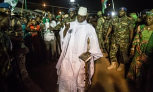 President Yahya Jammeh arriving for a rally in November last year